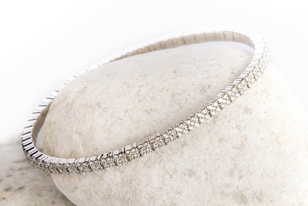 bracelet flexible or blanc riviEre diamants